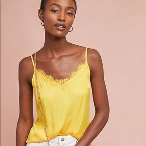 NWT Anthropologie Yellow Silky Cami Large